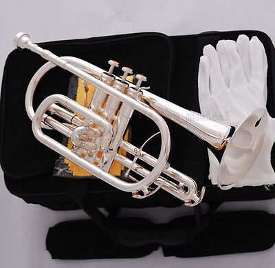Professional Silver Plated Double Trigger Cornet Horn B-Flat Monel Valve W/Case