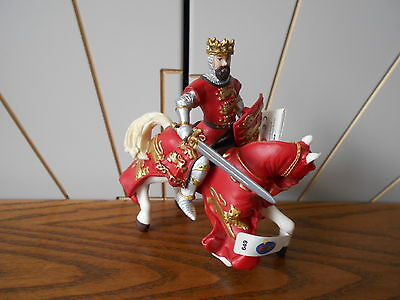 KING RICHARD WITH HORSE toy figure PAPO Knights/Castle 2003 red/white/gold