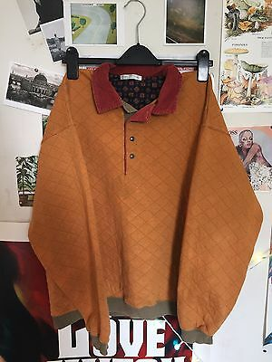 Vintage 90s St Michael/M&S collared mustard yellow shirt jumper cord quilted M
