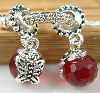 hot European Silver CZ Charm Beads Fit sterling 925 Necklace Bracelet Chain gl8