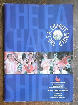Arsenal V Manchester United (Fa Charity Shield) Football Programme 7-8-1993
