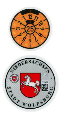 German License Plate Registration Seal - Wolfsburg VW 2018 Set