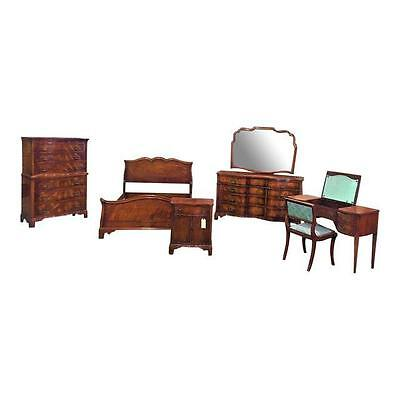 Antique Serpentine Front Flame Mahogany Bedroom Set by Morganton