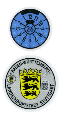 German License Plate Registration Seal Stuttgart Mercedes-Benz, Porsche 2020 Set