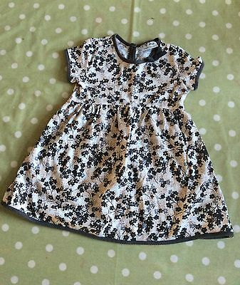 Next taupe brown summer dress 100% cotton age 18 months - 2 years