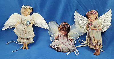 BRADFORD EXCHANGE Heaven's Little ANGELS Donna Brooks CHRISTMAS ORNAMENTS x 3