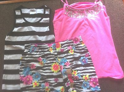 3) Girls' Size 14-16 Items  2) Tops Pink, Black & White Striped 1) Shorts NWT