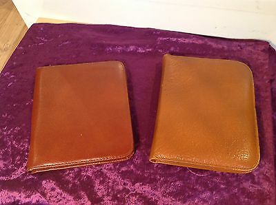 Pair of Vintage Leather zip up writing wallet stationery case & pads
