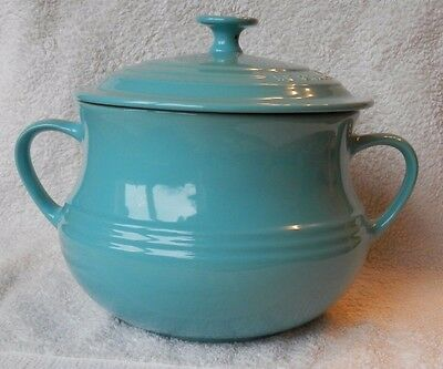 Le Creuset Stoneware LARGE BEAN POT with LID, Teal/Caribbean Blue, 3.8L, BNWT