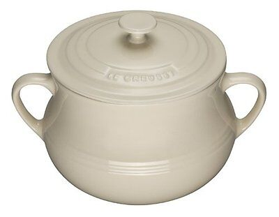 Le Creuset Stoneware LARGE BEAN POT with LID, Almond/Dune, 3.8L, BNWT, Rare