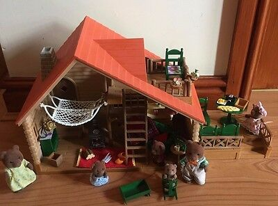 Sylvanian family Log Cabin cosy living room lightup log burner 1980s Bear family