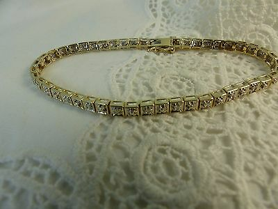 9ct 9carat Gold Diamond Tennis Bracelet 6.5'' 6.8 grams
