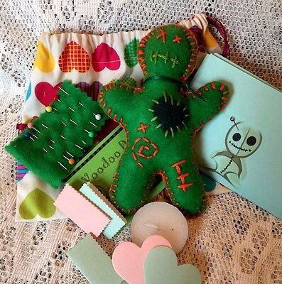 Voodoo Doll Spell Kit & Pouch Handmade Poppet Doll. Green Fertility, Luck Wealth