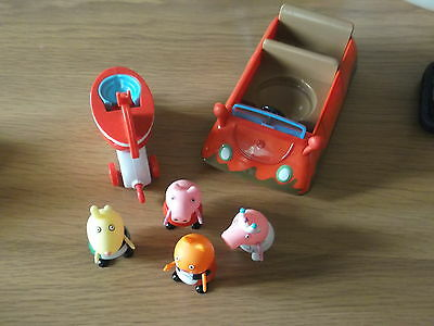 peppa pig car and rocking horse and lots of figures & extras