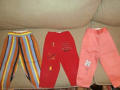 Lot of 3 Pairs of Vintage Baby/Toddler Pants Elastic Waists No Buttons or Snaps