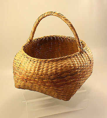 Antique Primitive Choctaw Or Chitimacha Polychrome Handled Basket