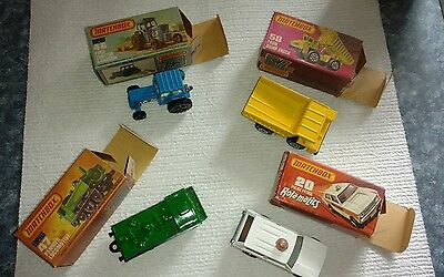 Lot Of Vintage Matchbox & Origial Boxes Faun Dump Truck, Ford Tractor, Police