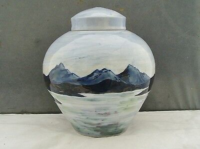 Highland Stoenware Scotland Unusual Limited Edition Lidded Jar Seascape Signed