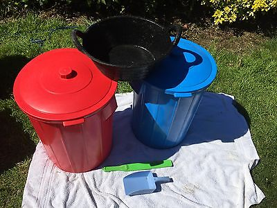 Large plastic feed bins x 2, rubber feed bowl, scoop and stirrer