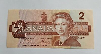 1986 Canadian $2 Dollar Bank Note Paper Bill AUH0083037 Circulated Canada
