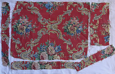 "Vintage 1950s floral ogee barkcloth fabric remnants 29"" x 22"" plus scraps red"