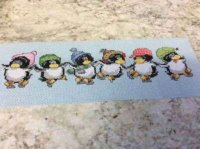 Penguins completed cross stitch