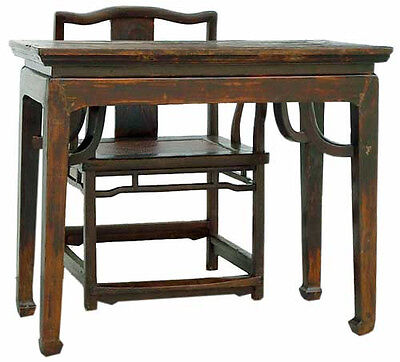 Antique 18th Chinese Writing Table Desk & Chair Shandong