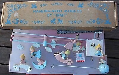 Vintage Irmi No. M813 Musical Angel Handpainted Mobile Baby Nursery Bed w/ Box