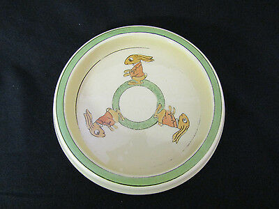 Antique Roseville Pottery Rabbit Baby Feeding Dish Bunnies  Shower Gift(#5646)