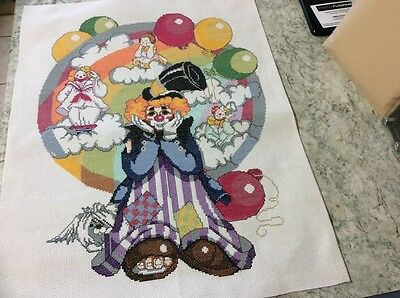 New Large Clown Completed cross stitch
