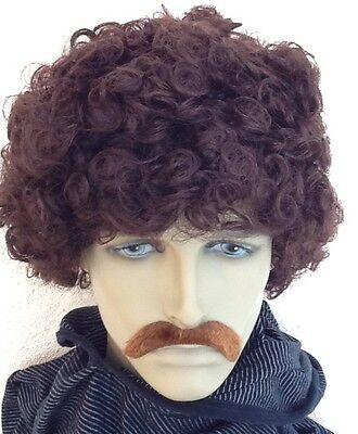 Dark Brown Curly Men's Fancy Dress Wig & Droop Moustache(Short Cut)