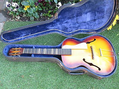 Acoustic Archtop Russian Vintage Guitar & Case possibly1940s /1950s