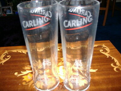 Two half pint Carling Lager glasses Brand New