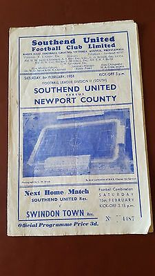 Southend United V Newport County 8.2. 1958