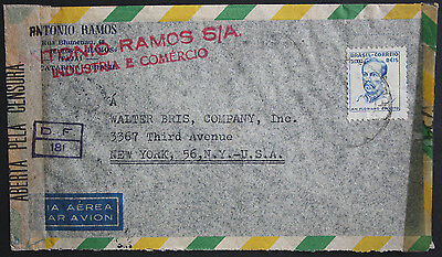 """Brazil 1945 Double Censored Cover """"Examined by 7547"""" & """"DF 181"""" to New York USA"""