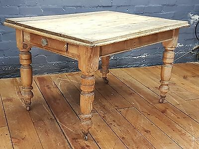 Victorian Antique Pine Country Kitchen Rustic Farmhouse Table with Drawer