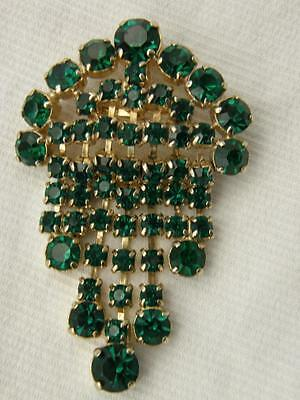 Vintage Goldtone Faux Emerald Green Glass Stones Dangle Fringe Brooch Pin