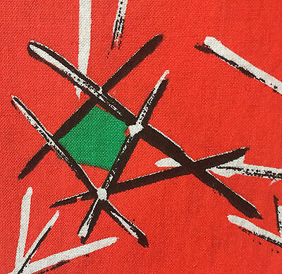EXCITING 1940/50s VINTAGE COTTON FABRIC - FAB MID-CENTURY MODERN ATOMIC DESIGN