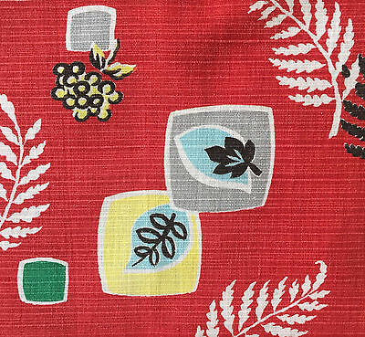 1940/50s VINTAGE COTTON BARKCLOTH FABRIC FAB MID-CENTURY MODERN/ATOMIC DESIGN