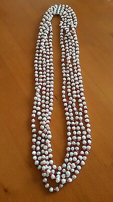 QVC Sterling Silver, Cultured Pearl and Coral Long Four Strand Necklace