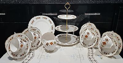 Vintage colclough tea set service wedding party cups saucers plates cake stand