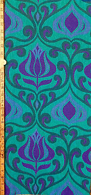 1960s VINTAGE MID-WEIGHT WOVEN COTTON - WILLIAM MORRIS STYLE - JAQUARD FABRIC