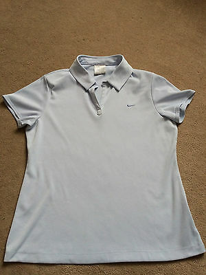 Nike Fit Dry golf women's size blue large L, short sleeve golfing polo shirt, 14
