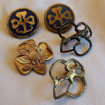 Vintage lot of five Girl Scouts of America pins