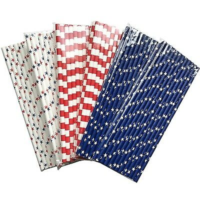 LOT 150 4th Of July Celebration American Flag Red White Blue Paper Straw