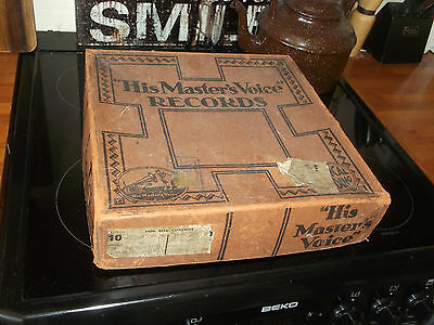Vintage HMV His Master's Voice Cardboard Packaging Box WITH ORIGINAL 78 RECORDS