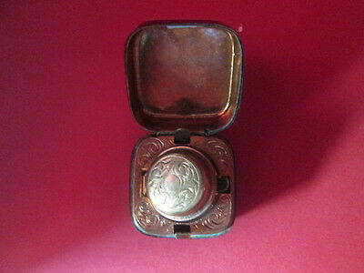 Leather Travel Inkwell Gilt Decorated