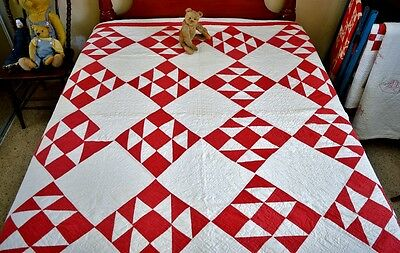 Antique Hand Stitched Red and White Double X Quilt *