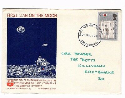 1969 First Man On The Moon - City Of Southampton Fdc From Collection 1C/18