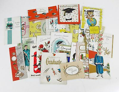 1930 - 40's USED VINTAGE GREETING ART DECO HALLMARK GRADUATION CARDS LOT OF 28